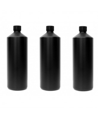 3X Darkroom Chemical Storage Bottles - 1L (All Black)